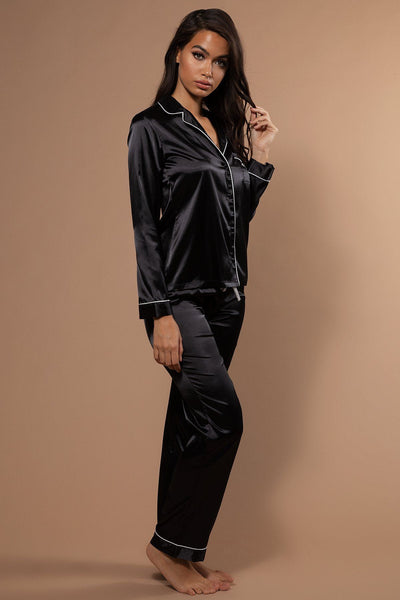 Abigail Satin Long Sleeve Pyjama Top - Black - MESHKI