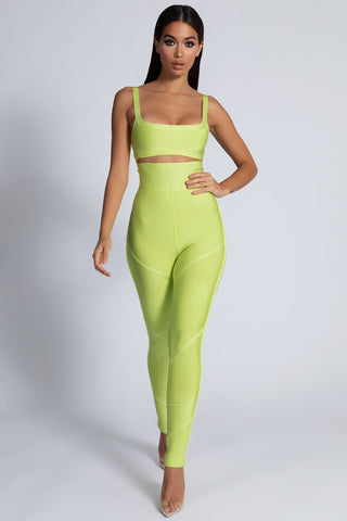 Rowan Bandage Panelled Pants - Lime Green - MESHKI