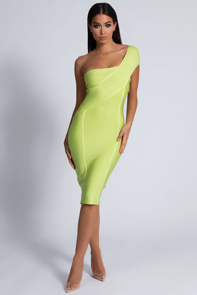 Eloise Asymmetric Bandage Dress - Lime Green - MESHKI