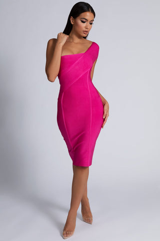 Eloise Asymmetric Bandage Dress - Hot Pink - MESHKI