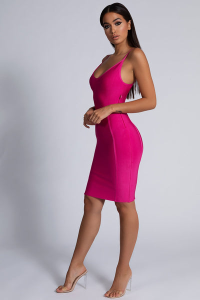 Nicole Strappy Bandage Mini Dress - Hot Pink - MESHKI