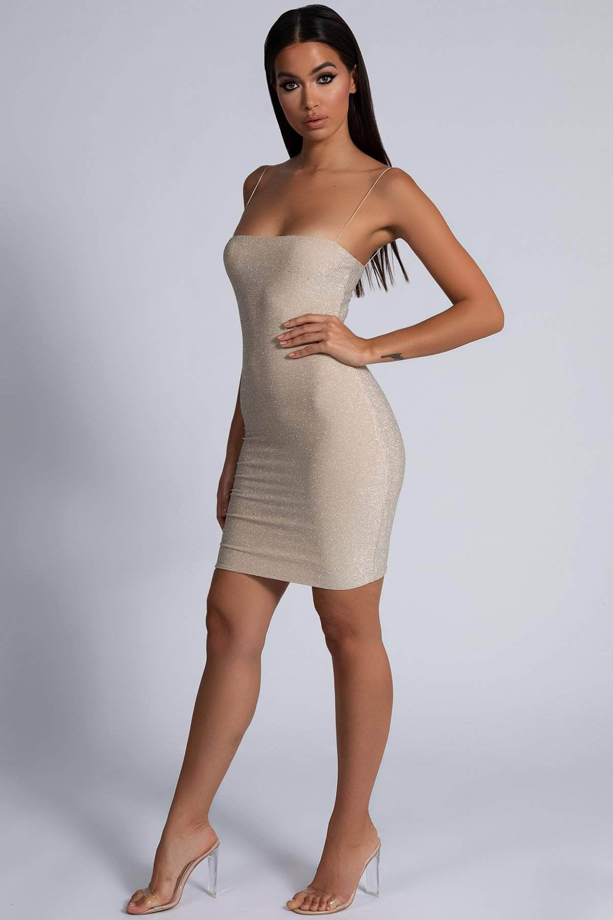 Mia Thin Strap Shimmer Mini Dress - Gold - MESHKI