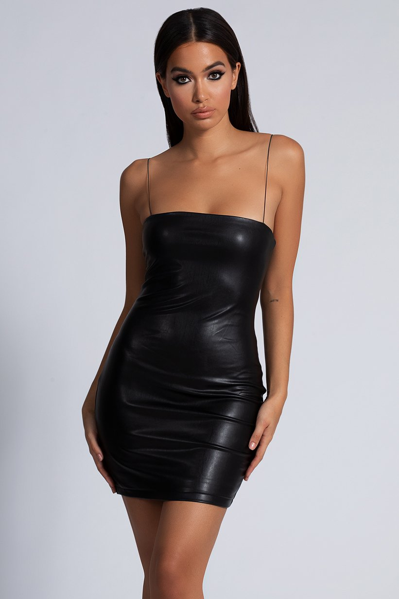 Raegan Faux Leather Thin Strap Mini Dress - Black - MESHKI
