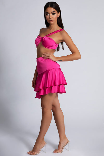 Finna Side Frill Skirt - Hot Pink - MESHKI