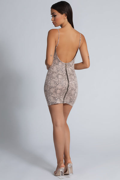 Kiara PU Low Back Dress - Snake Stone - MESHKI
