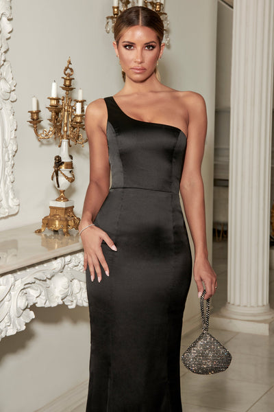 Willow Fitted One Shoulder Gown Satin - Black