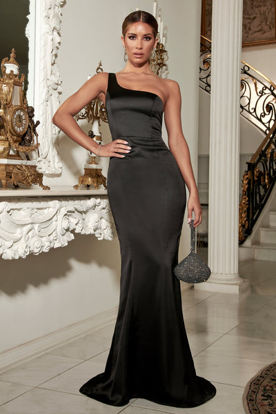 Willow Fitted One Shoulder Gown Satin - Black - MESHKI