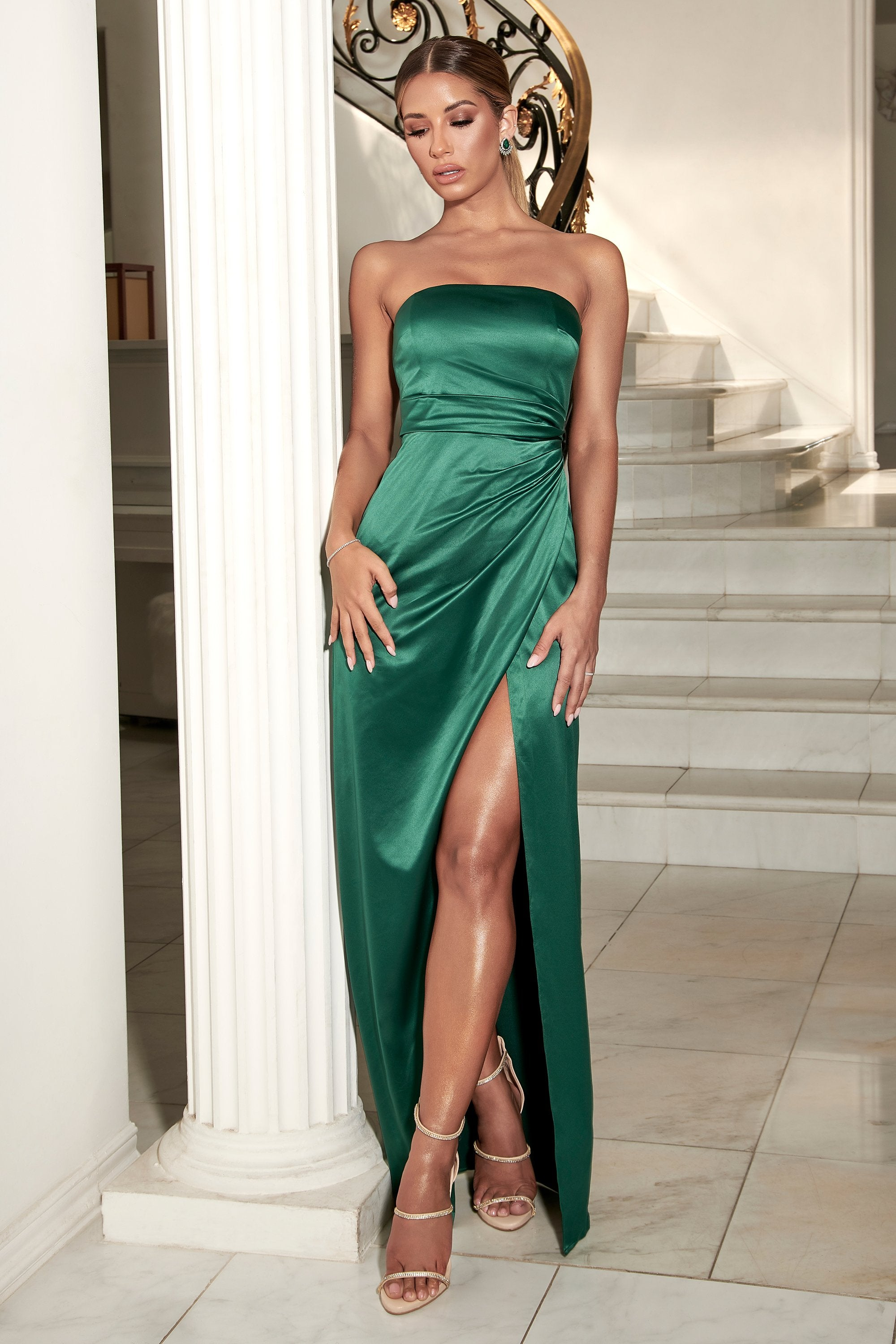 Riely Ruched Strapless Drape Split Dress Emerald