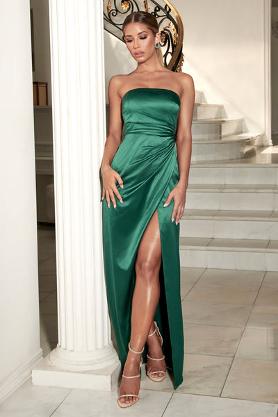 Riely Ruched Strapless Drape Split Dress - Emerald