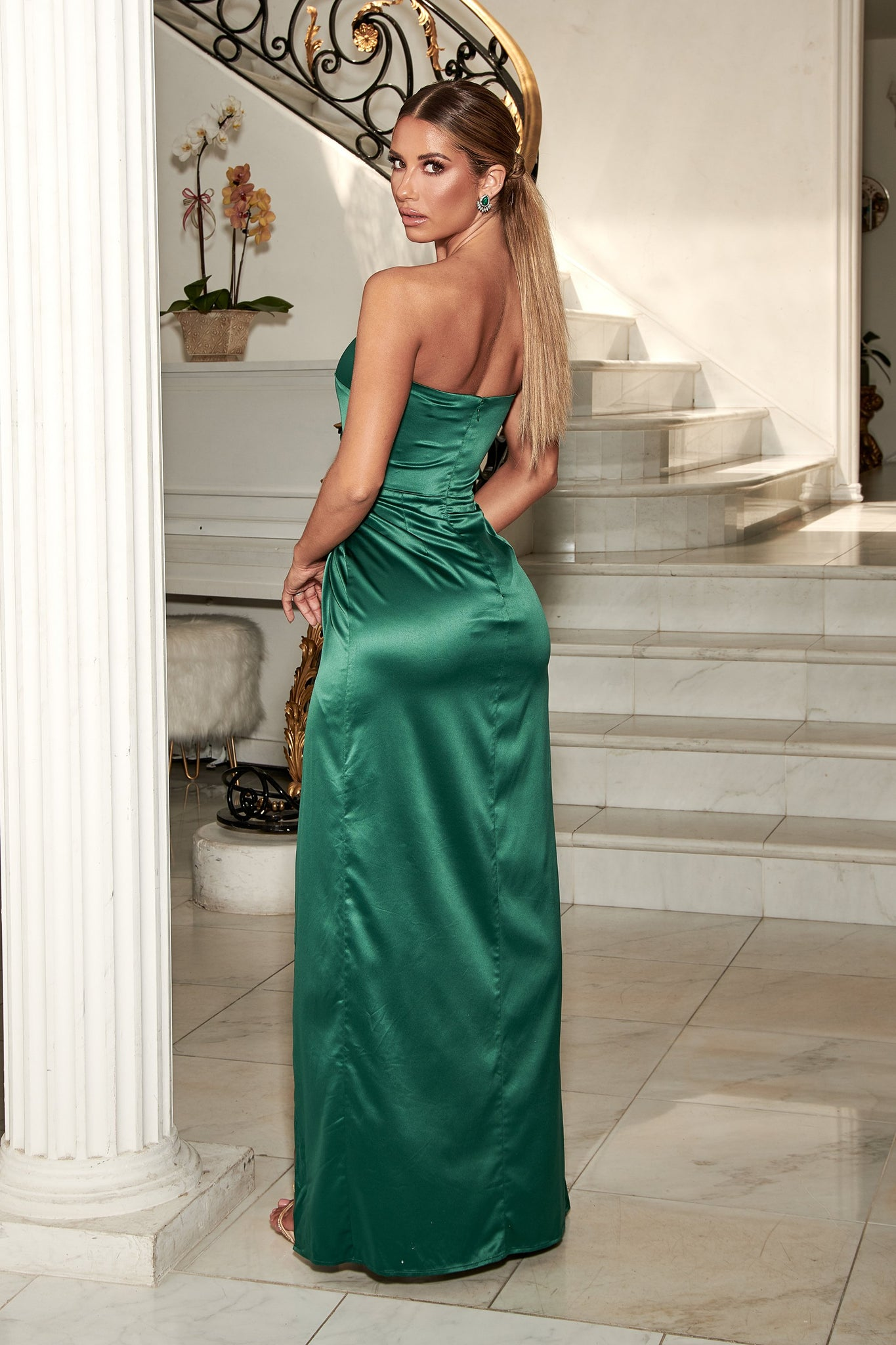 Riely Ruched Strapless Drape Split Dress - Emerald - MESHKI