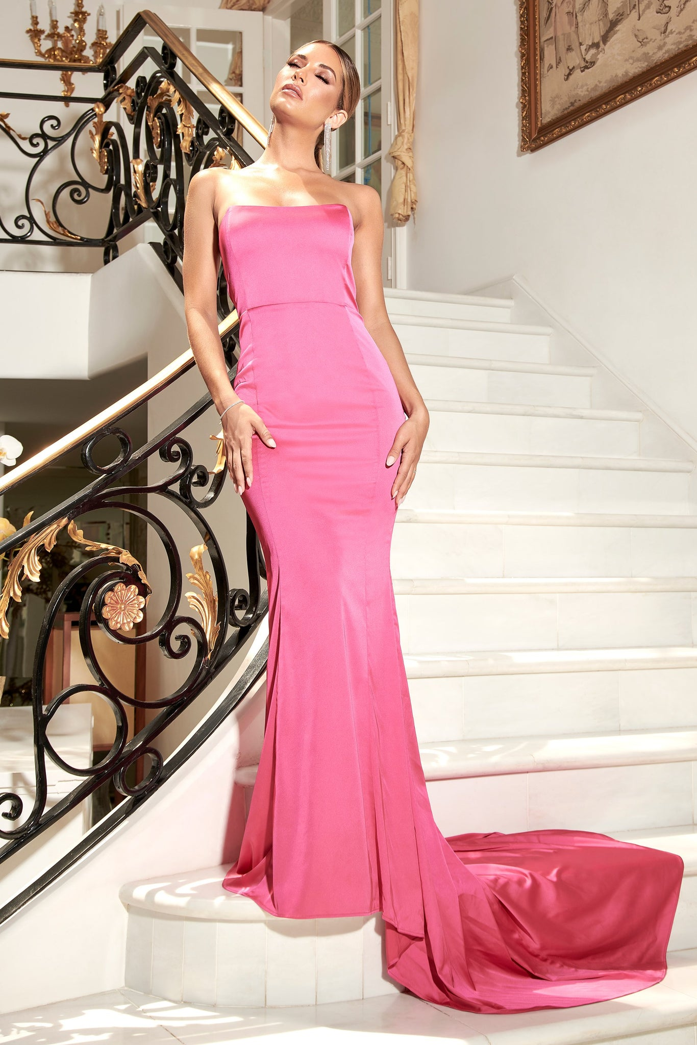 Farrah Strapless Fishtail Gown - Hot Pink - MESHKI