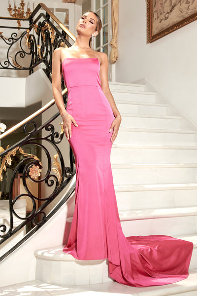 Farrah Strapless Fishtail Gown - Hot Pink