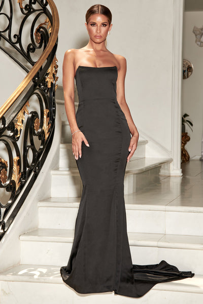 Farrah Strapless Fishtail Gown - Black