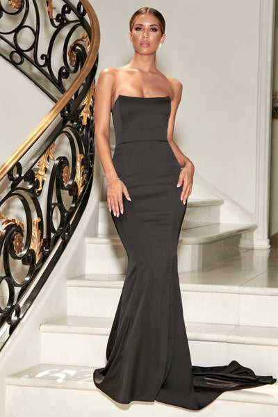 Farrah Strapless Fishtail Gown - Black - MESHKI