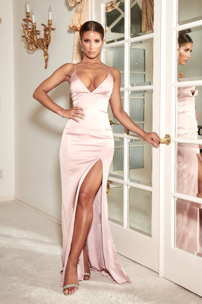 Elizabeth Satin Strappy Back Maxi Dress - Dusty Pink