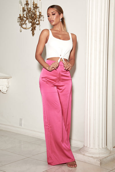 Morgan Super Wide Leg Satin Pants - Pink - MESHKI