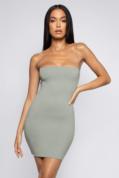 Mia Thin Strap Bodycon Dress - Sage - MESHKI