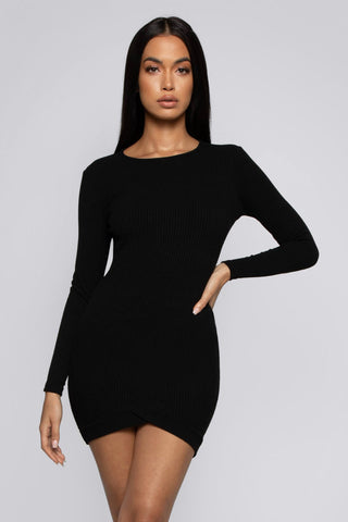 Brea Ribbed Long Sleeve Dress With Inverted hem - Black - MESHKI