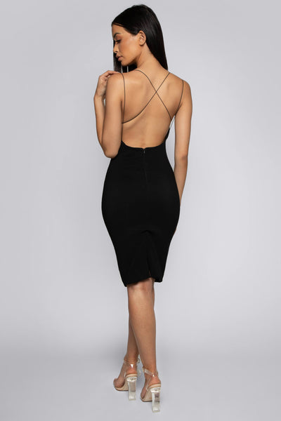 Bonnie Strappy Back Midi Dress - Black - MESHKI