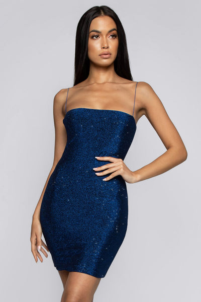 Mia Thin Strap Shimmer Dress - Shimmer Blue - MESHKI