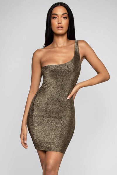 Scarlett One Shoulder Shimmer Mini Dress  - Gold