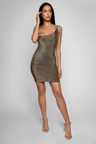 5f60892106 ... Scarlett One Shoulder Shimmer Mini Dress - Gold - MESHKI ...