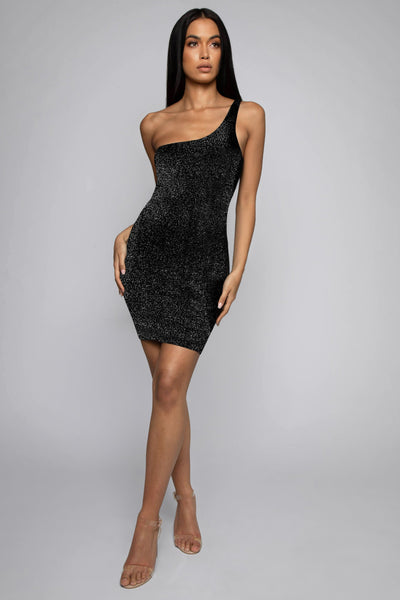 Scarlett One Shoulder Shimmer Mini Dress - Black - MESHKI