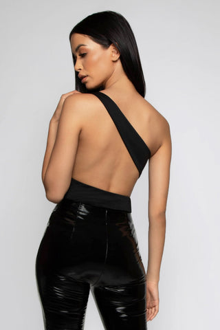 Tarni One Shoulder Bodysuit - Black - MESHKI