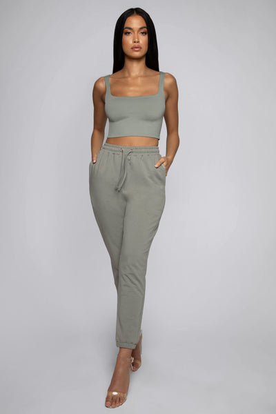 Jazmin Scoop Neck Crop Top - Sage - MESHKI