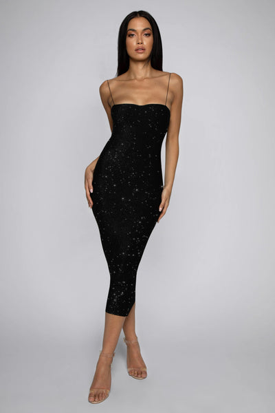 Jalia Thin Strap Shimmer Dress - Black