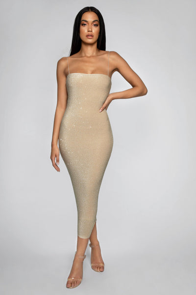 Jalia Thin Strap Shimmer Dress - Gold