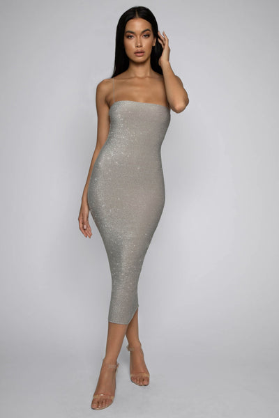 Jalia Thin Strap Shimmer Dress - Silver