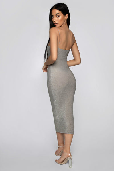 Jalia Thin Strap Shimmer Dress - Silver - MESHKI