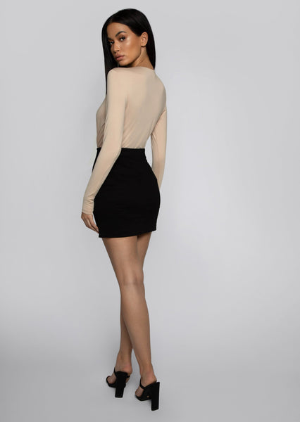 Jordyn Wrap Long Sleeve Bodysuit - Nude - MESHKI