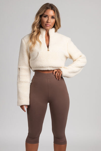 Renee Borg Pocket Front Cropped Jumper - Cream - MESHKI