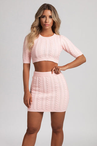 Poppy Cable Knit Fitted Cropped Jumper - Baby Pink - MESHKI