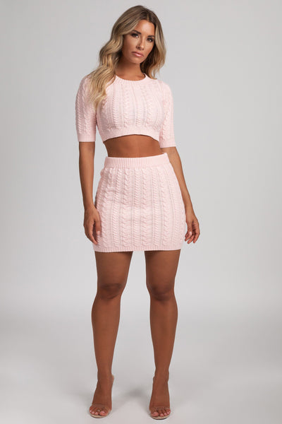 Perie Cable Knit Mini Skirt - Baby Pink - MESHKI