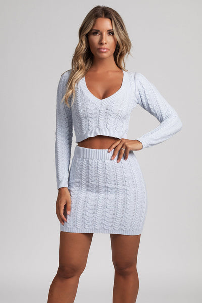 Perie Cable Knit Mini Skirt - Baby Blue