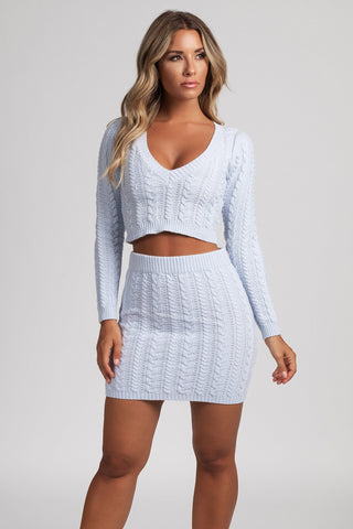 Jenelle Knit V Neck Fitted Jumper - Baby Blue - MESHKI
