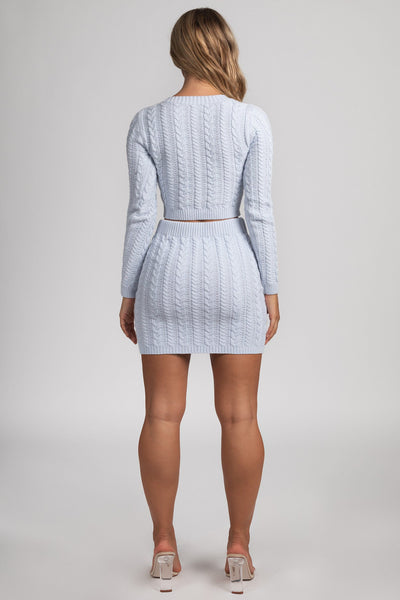 Perie Cable Knit Mini Skirt - Baby Blue - MESHKI