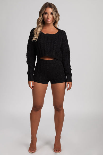 Phaedra Cable Knit Shorts - Black - MESHKI