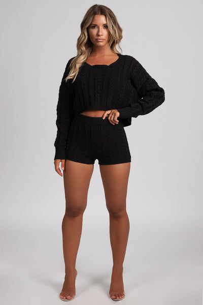 Onora Cable Knit Cropped Oversized Jumper - Black - MESHKI