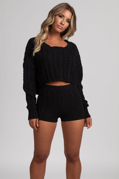 Onora Cable Knit Cropped Oversized Jumper - Black