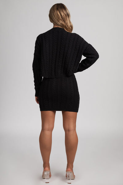 Perie Cable Knit Mini Skirt - Black - MESHKI