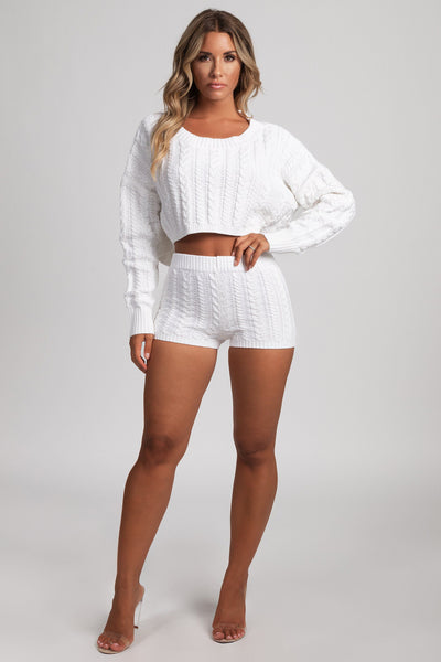 Phaedra Cable Knit Shorts - Cream - MESHKI