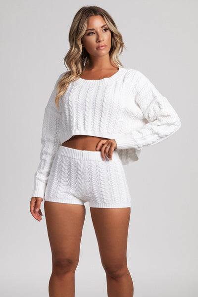 Phaedra Cable Knit Shorts - Cream