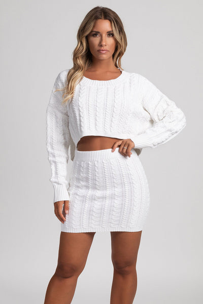 Perie Cable Knit Mini Skirt - Cream