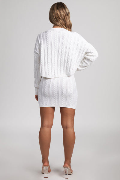 Perie Cable Knit Mini Skirt - Cream - MESHKI