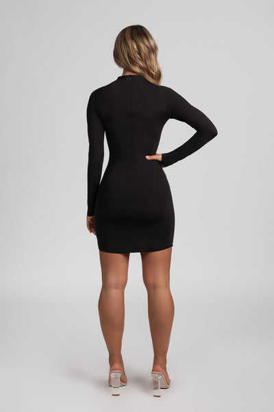 Kylie Long Sleeve Mini Dress - Black - MESHKI