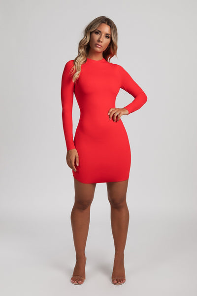 Kylie Long Sleeve Mini Dress - Red - MESHKI